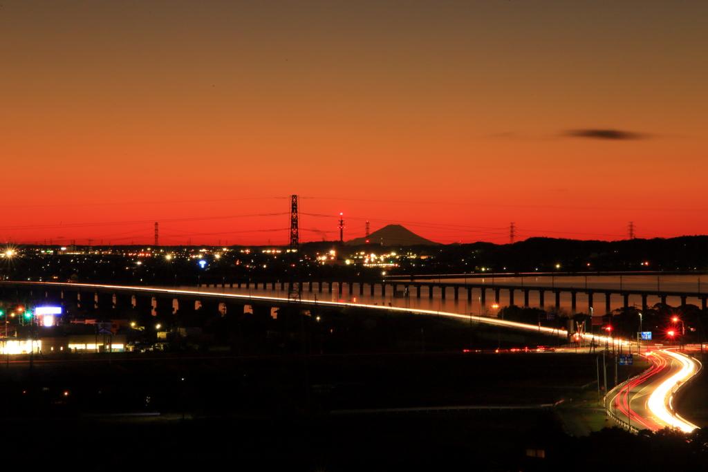 光跡と富士山