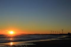 陽光と風車