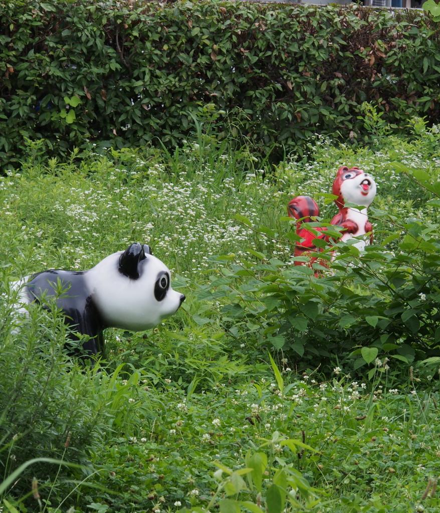 草むらに 動物たちの 鬼ごっこ
