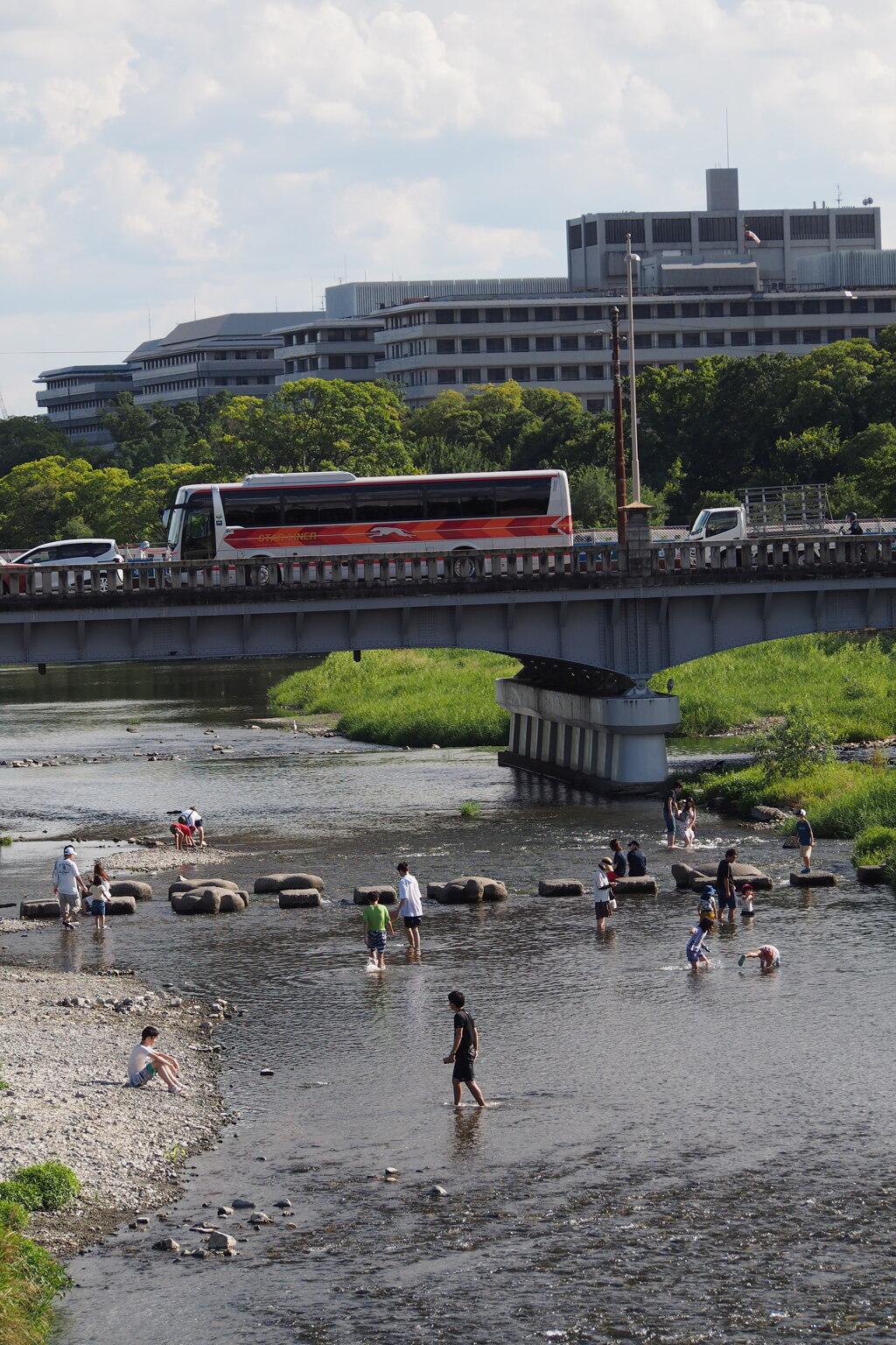 京の街 残暑厳しや 川遊び