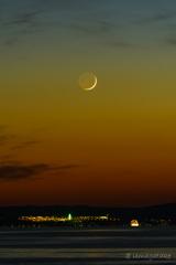 黄昏時の繊月