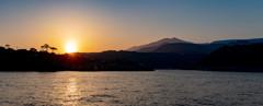 伊豆大島の夕景 波浮港から望む三原山