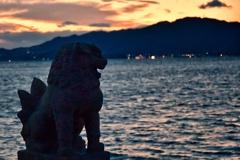 岩子島、厳島神社の狛犬
