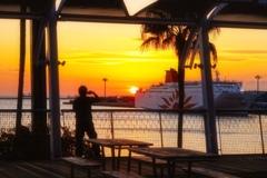 夕陽を撮る