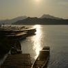 夕日と船 01