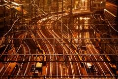 夕焼けに染まる鉄路