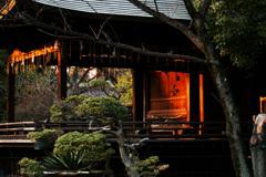 神楽殿の夕日