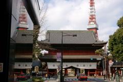 増上寺と東京タワー(4/4):ビルの壁に映る