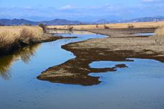冬枯れの水路