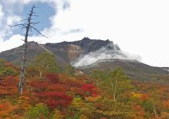 那須紅葉 ➀ 噴煙を上げる茶臼岳