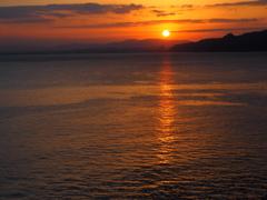 別府温泉から見る朝日