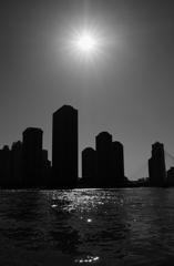【街の情景】・水生都市(シルエット写真・月島地区)・・!