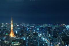 六本木ヒルズより,東京タワー方面を望む