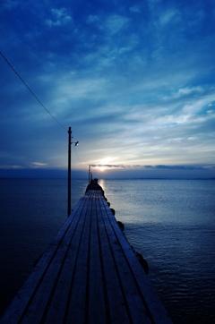 原岡桟橋,夕暮れ時