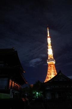 増上寺より,東京タワーを望む