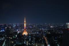 虎ノ門ヒルズより,東京タワーを望む