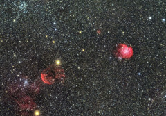 モンキー星雲、クラゲ星雲の合成 再処理