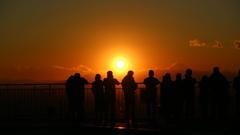 想い出の夕陽と富士山