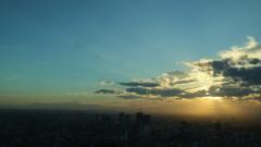 六本木ヒルズ展望台からの 夕陽。