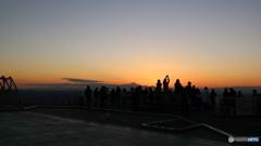 夕焼けと富士山。