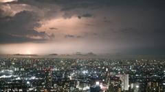 市川市アイ・リンクタウン展望施設から見た雷①