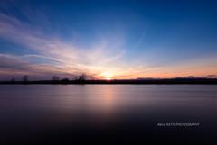 岩保木水門の夕日