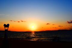 松江の夕日