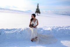 ツリーと白いドレスの花嫁