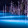 雪を待つ青い池