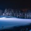 凍る前夜の青い池