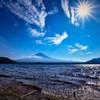 夏空の河口湖にて
