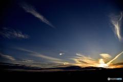 陽の長い春の夕陽