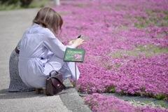 芝桜とお姉さん
