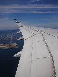 機上から見た神戸空港