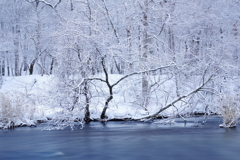 雪の日の川