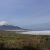 富士山と霧の山中湖