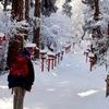 雪の参道を歩く