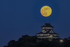 満月と犬山城
