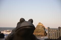 カエル様with夫婦岩