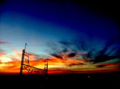 夕暮れ時の焼けた空