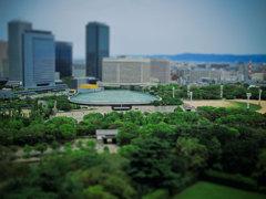 大阪城の天守閣からの眺め