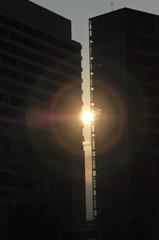 都会の夕日