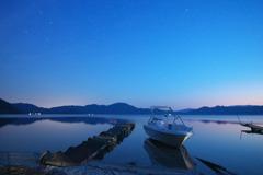 黄昏の湖!