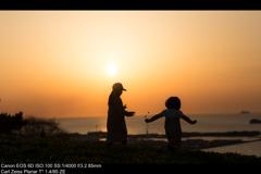 夕陽にルンルン