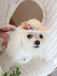 お花の麦わら帽子
