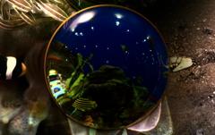 水中のガラス玉