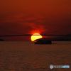 明石海峡大橋と夕日④