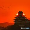 姫路城と夕日③