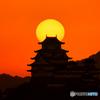 姫路城と夕日②