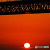 明石海峡大橋と夕日③